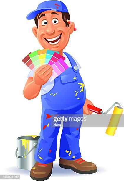 ilustraciones, imágenes clip art, dibujos animados e iconos de stock de pintor con muestra de colores - pintores de brocha gorda