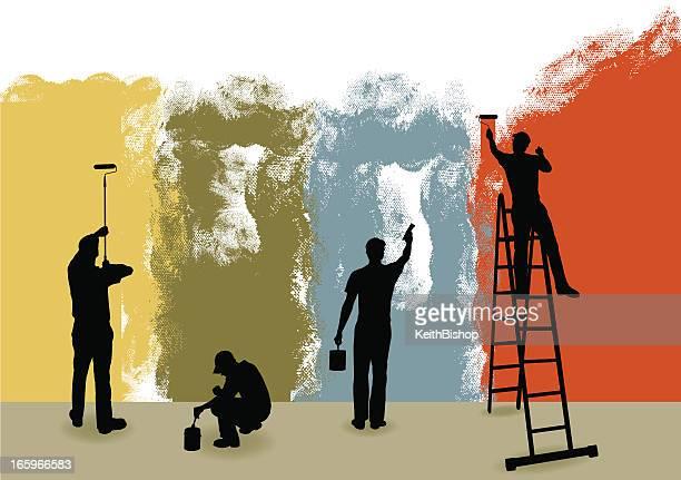 ilustraciones, imágenes clip art, dibujos animados e iconos de stock de pintores fondo de bricolaje, reparador - pintores de brocha gorda