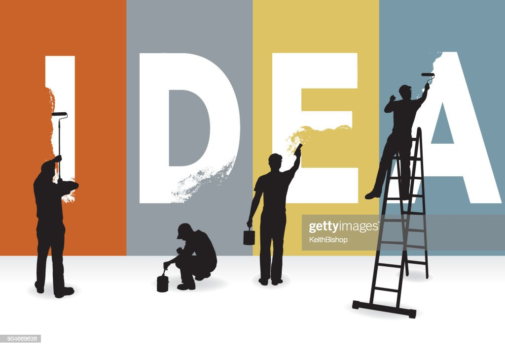 IDEA - painters creating the word : stock illustration