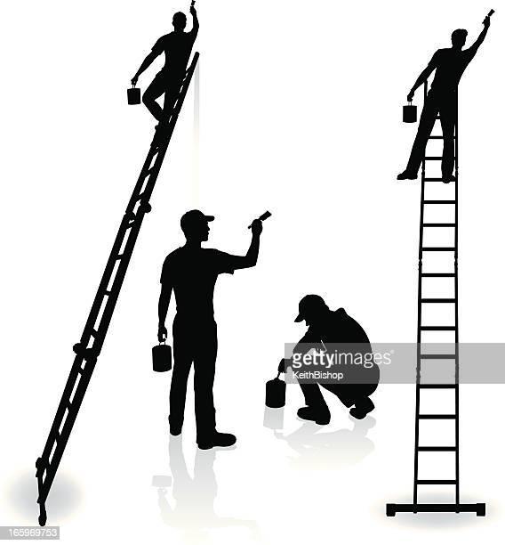 painters - home improvement, repairman, painting - ladder stock illustrations, clip art, cartoons, & icons