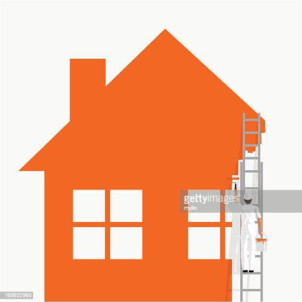 ilustraciones, imágenes clip art, dibujos animados e iconos de stock de paintig su hogar - pintores de brocha gorda