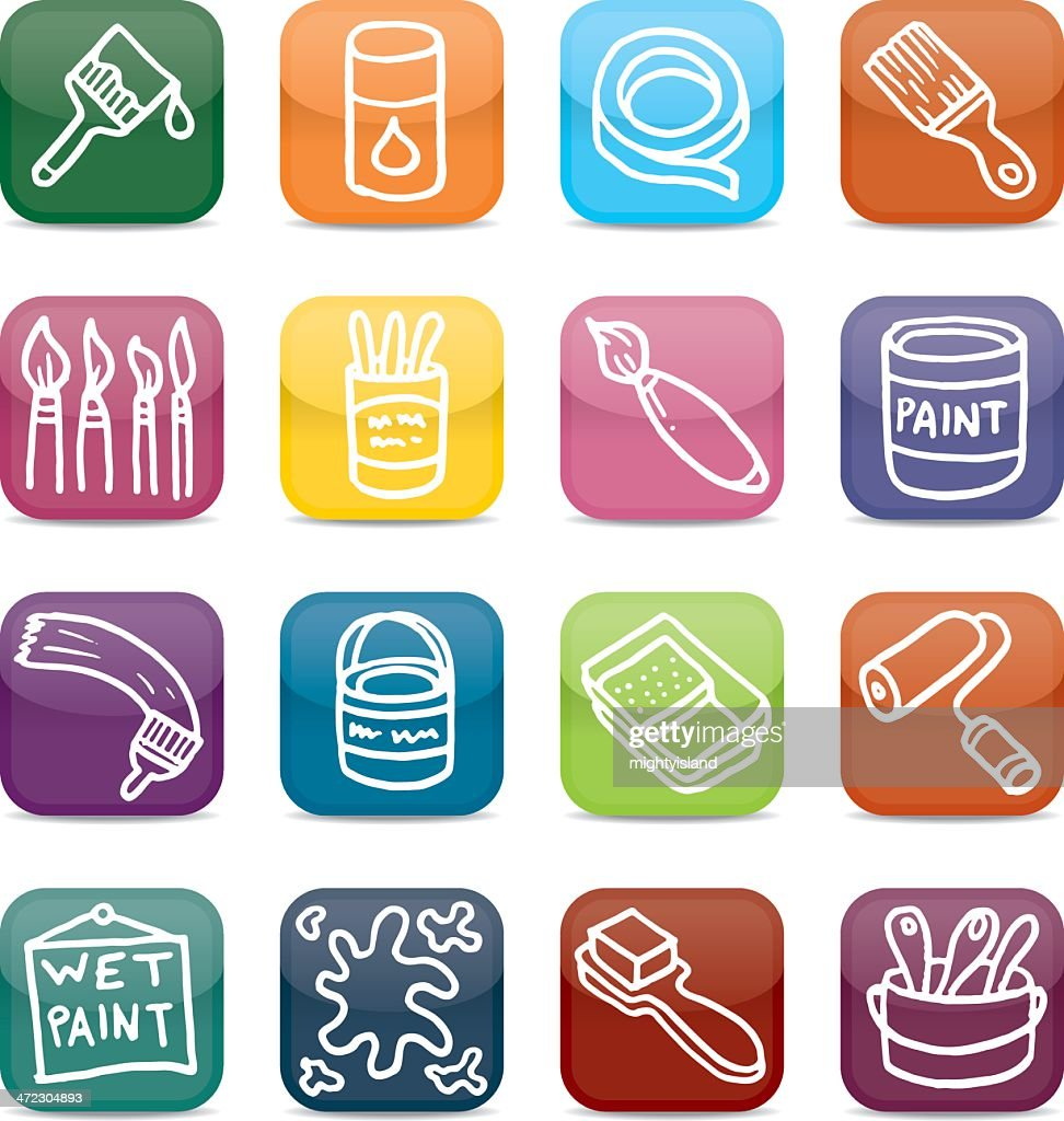 Painting And Decorating App Style Icon Set Vector Art