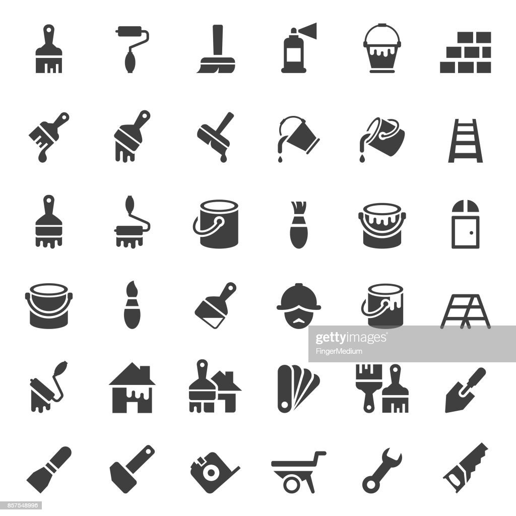 Painting and tools icon set