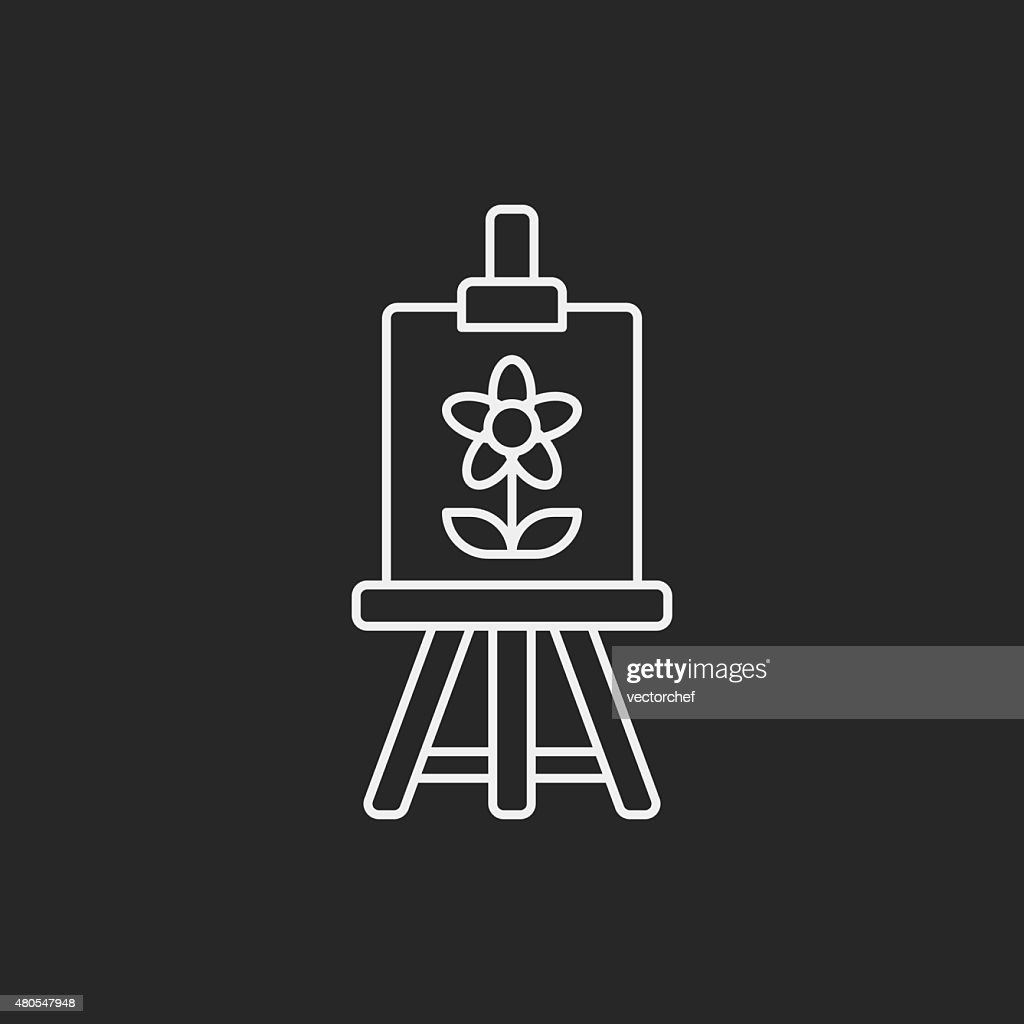 painting artwork line icon : Vector Art