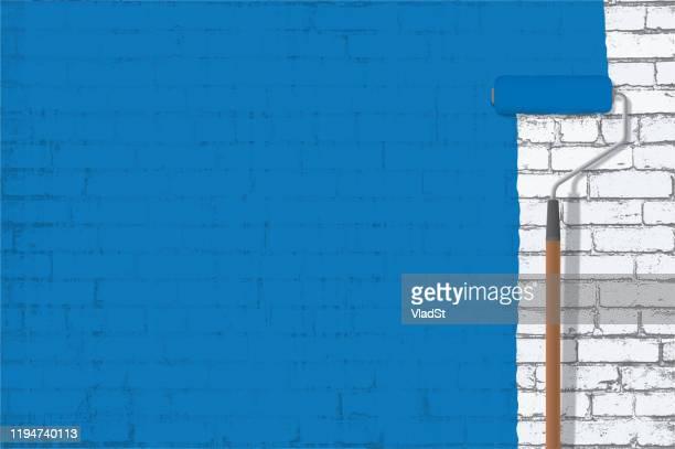 illustrazioni stock, clip art, cartoni animati e icone di tendenza di pittura blu grunge brick wall copia spazio sfondo - pittore