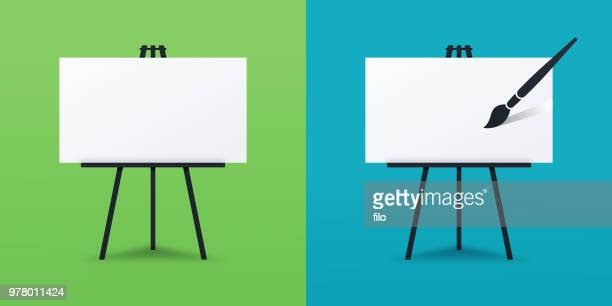 painting canvas - easel stock illustrations