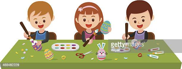 painting easter eggs - easter bunny costume stock illustrations, clip art, cartoons, & icons