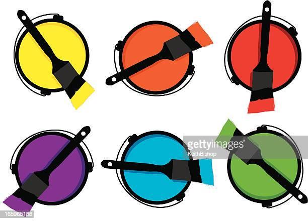illustrazioni stock, clip art, cartoni animati e icone di tendenza di casa miglioramento, pittura pennello di vernice - cambiare colore