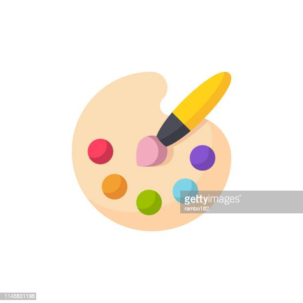 illustrazioni stock, clip art, cartoni animati e icone di tendenza di icona piatta tavolozza di pittura. pixel perfetto. per dispositivi mobili e web. - pittore