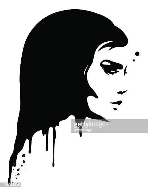 malen porträt - attraktive frau stock-grafiken, -clipart, -cartoons und -symbole