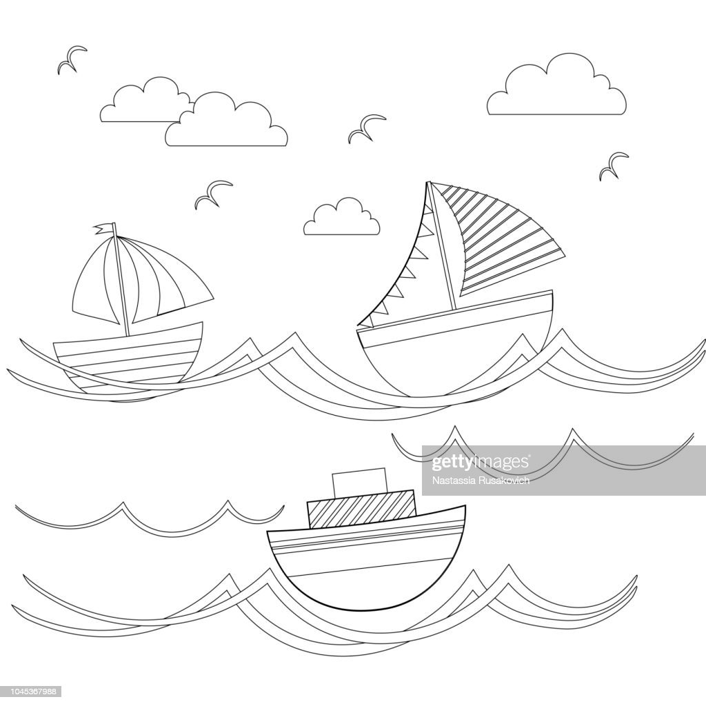 Painting the sea transport, cartoon boats. Vector illustration.