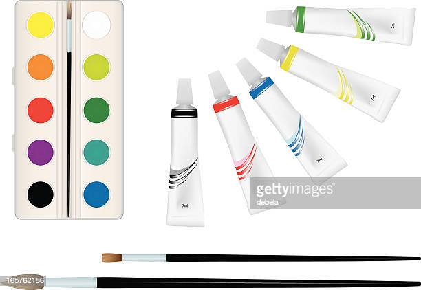 paints and brushes. - tempera painting stock illustrations