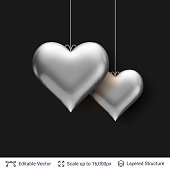 Pair of 3D Heart shaped silver air balloons.