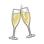 Pair of champagne glasses, holiday toast
