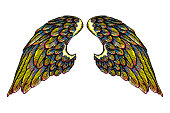 Pair of colorful spread out eagle bird or angel wings. Colourful spread of etched woodcut vintage style wings. African, Indian totem tattoo design concept for body art. Vector.