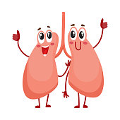 Pair of cute and funny, smiling human lung characters
