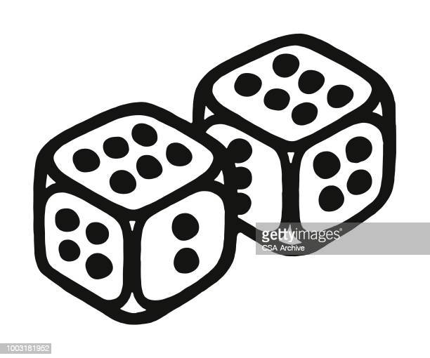 pair of dice - good luck charm stock illustrations