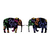 Pair of elephants , decorated with floral ornaments