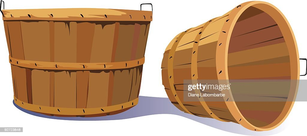 Pair of Empty Old Fashioned Farm Harvest Bushel Baskets : Vector Art