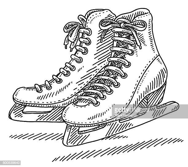 pair of ice skates drawing - ice skating stock illustrations, clip art, cartoons, & icons