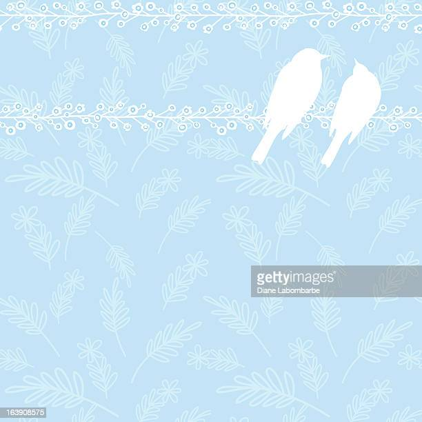 Pair of Robins On Seamless Background