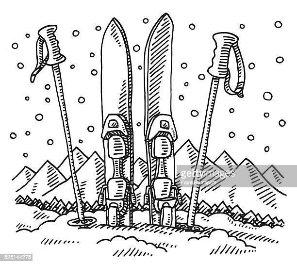 illustrations, cliparts, dessins animés et icônes de paire de skis de fond et bâtons de ski sport d'hiver dessin - ski alpin