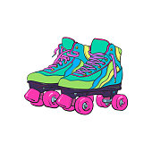 Pair of vintage, retro quad roller skates, sketch style illustration