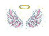 A pair of wide spread angel wings with golden halo or nimbus. Pink, grey and white feathers with sparkling stars. Magic fantasy concept. Vector illustration isolated on white.