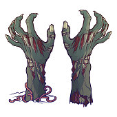 Pair of zombie hands rising from the ground and torn apart. lifelike depiction of the rotting flash with ragged skin, protruding bones and cracked nails.