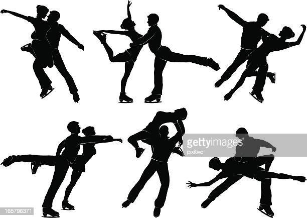 pair skating silhouettes - figure skating stock illustrations