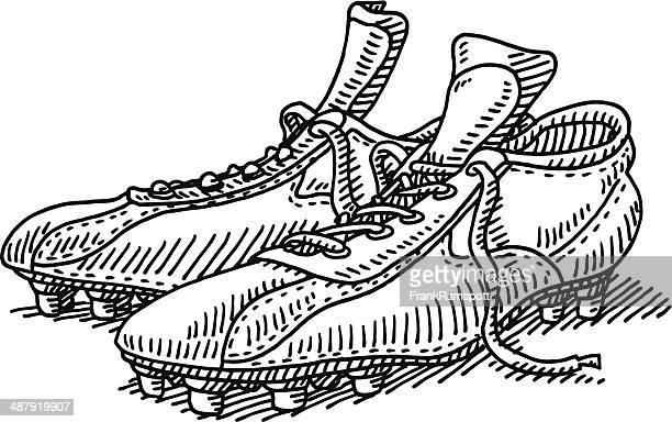 Par de sapatos de desenho de futebol