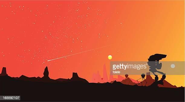 paisaje rojo estrellado - rojo stock illustrations