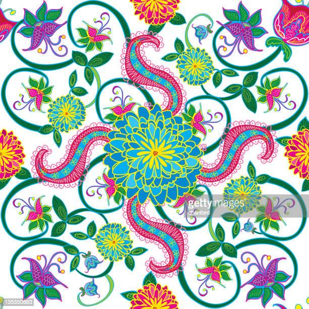paisley and peony seamless pattern - paisley pattern stock illustrations, clip art, cartoons, & icons