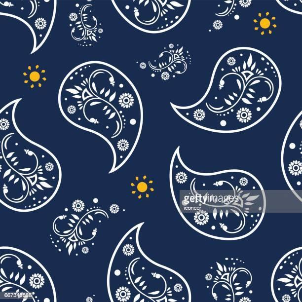 Paisley blue grey wallpaper seamless pattern retro design