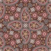 Paisley fabric seamless pattern.Oriental motif.Retro