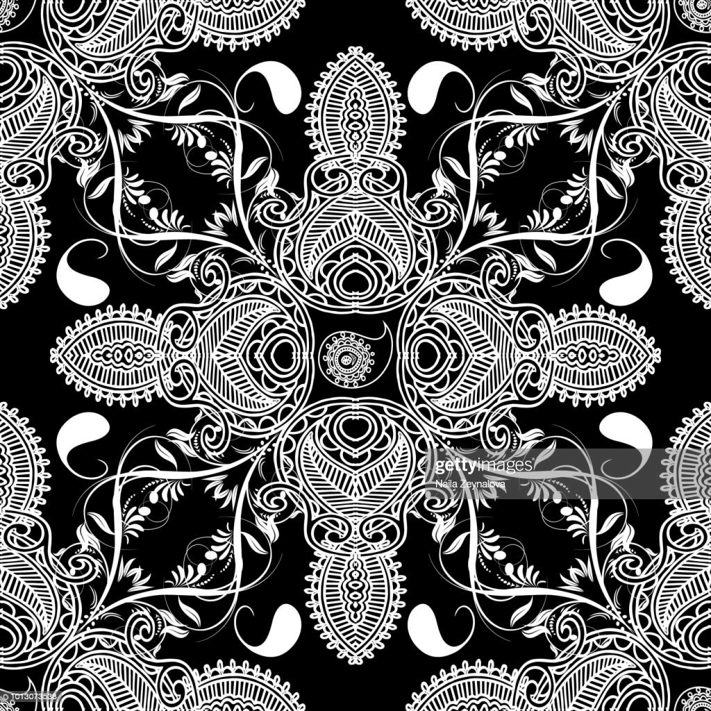 Paisley floral vector seamles pattern.