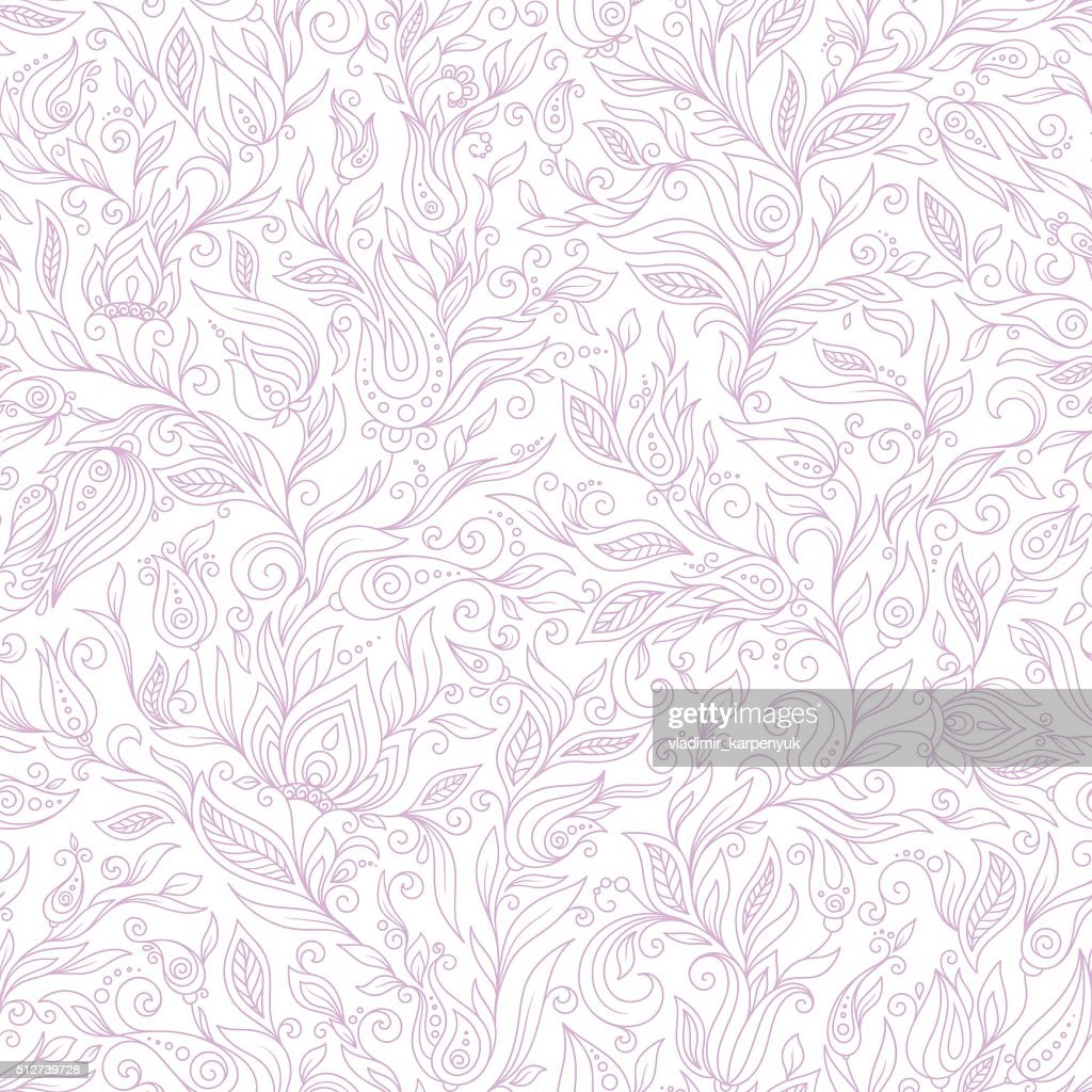 Paisley Flowers Design Elements Seamless Pattern