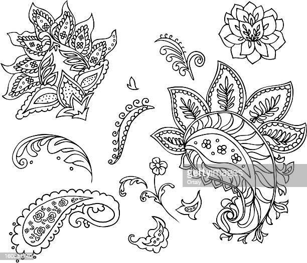 paisley flowers - paisley pattern stock illustrations, clip art, cartoons, & icons