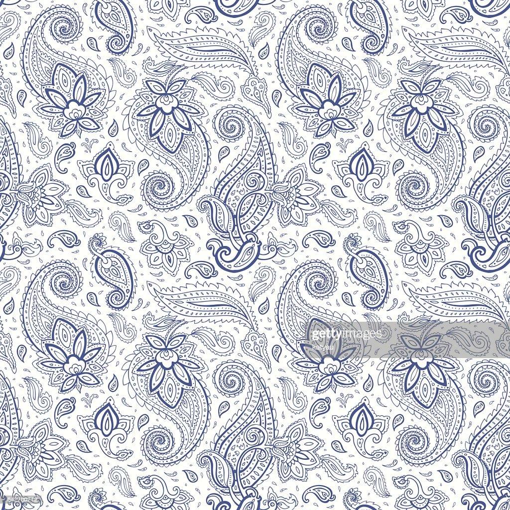 Paisley Hand drawn seamless pattern.