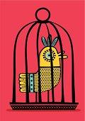 pajaro exotico en una jaula