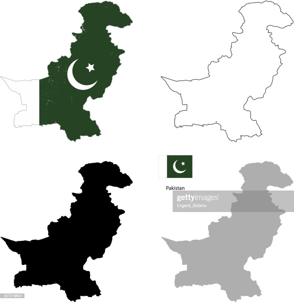 Pakistan country black silhouette and with flag on background