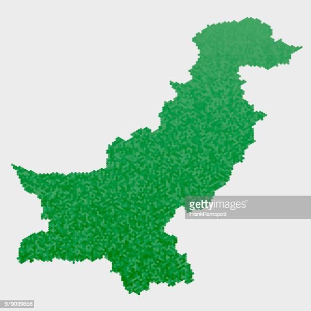 Pakistan-Land-Map-grünen Sechseck-Muster