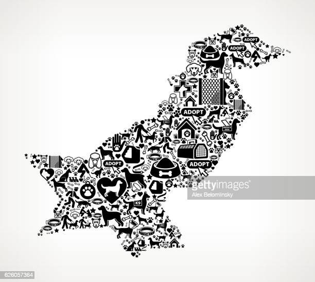 Pakistan Dog and Canine Pet Black Icon Pattern