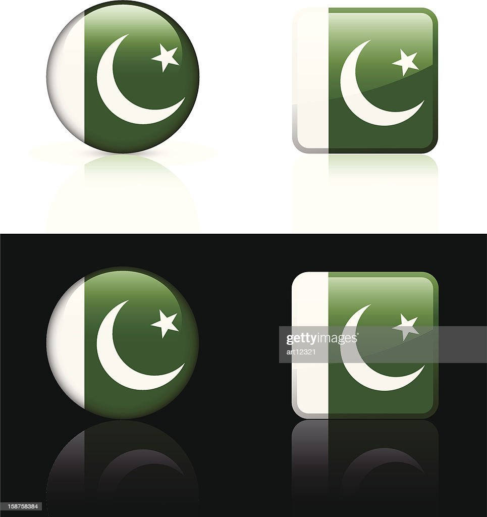 Pakistan Flag Button Set