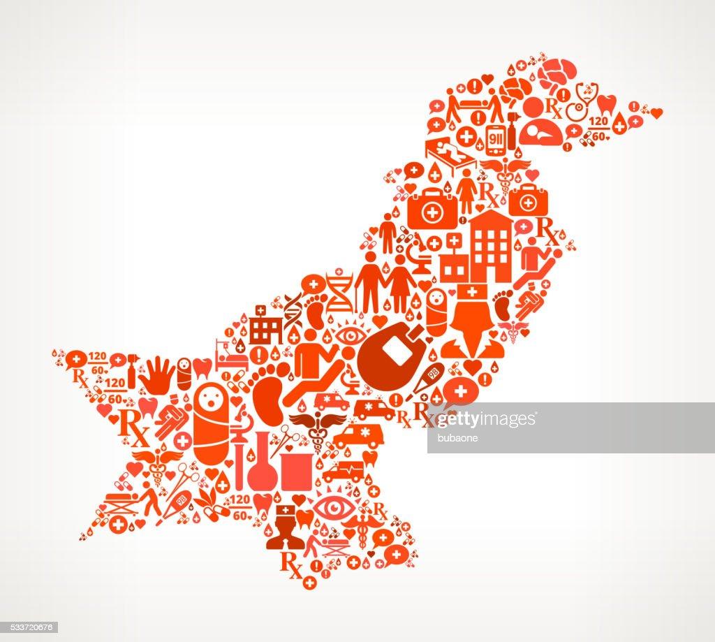 Il pakistan Icona rossa assistenza sanitaria e medica motivo : Illustrazione stock