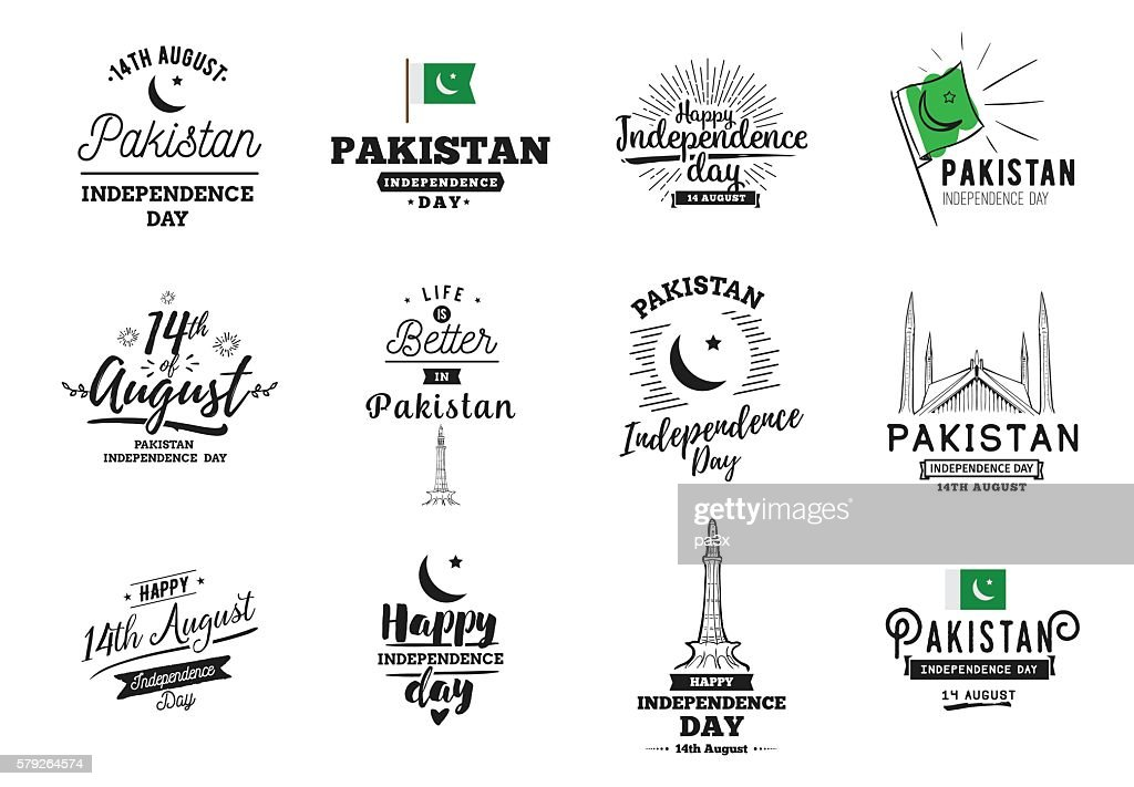 Pakistan Independence day, 14th august. Vector emblems.