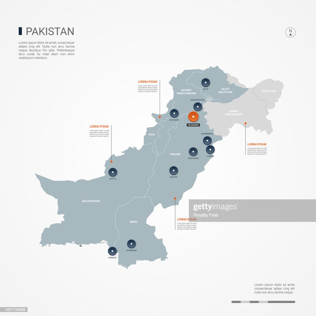 Pakistan infographic map vector illustration.
