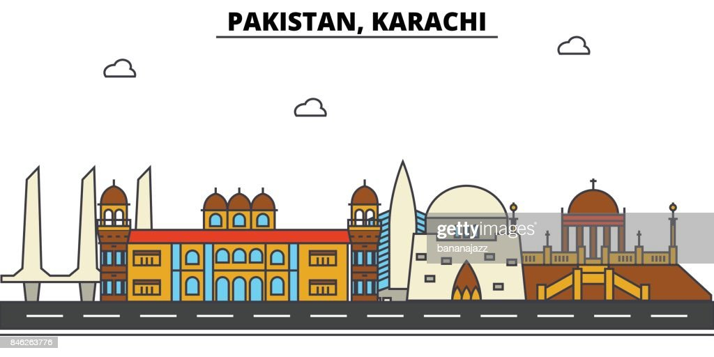 Pakistan, Karachi. City skyline: architecture, buildings, streets, silhouette, landscape, panorama, landmarks. Editable strokes. Flat design line vector illustration concept. Isolated icons set