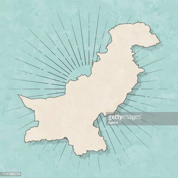 pakistan map in retro vintage style - old textured paper - pakistan stock illustrations