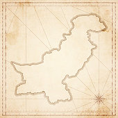 Pakistan map in retro vintage style - old textured paper